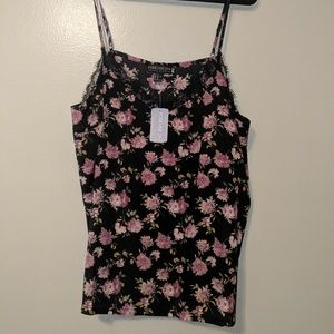 Forever 21+ Black and Pink Floral Cami NWT / 3x